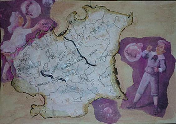 """Letter-ID.  von Länder Grenzen Macht: """"Sein oder nicht sein das ist hier die Frage"""", Collage: Farbkopien, Millimeterpapier, Natural tracing paper pigment Liner, Kaffeewasser, Acrylfarbe, Juliana Grivas, juliana.neumann@mail.ru"""