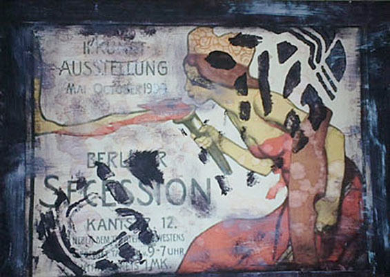"""Letter-ID.  von Menschen Alltag Kultur:""""Es treten andere Zeiten an"""" der 1. Weltkrieg und der Krieg an erster Stelle; Collage: Farbkopie, Acrylfarbe, Arbeitsschuh, Cuttermesser; Juliana Grivas, juliana.neumann@mail.ru"""