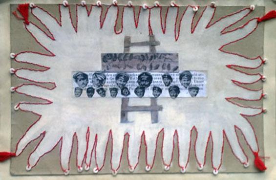 """Letter-ID.  von Menschen Alltag Kultur: """"Der Krieg war auch im Winter"""" frisches Blut auf dem Schnee, Collage, Tonkarton metallisiert, Küchenfolie, Heißkleber, Tucker, Papierstreifen und Acrylfarbe, Juliana Grivas, juliana.neumann@mail.ru"""