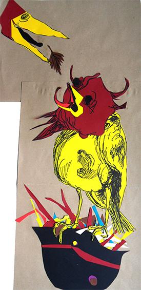 Letter-ID.  von Kohlvogel - Kärgliche Fütterung, Collage und Acrylfarbe, 2013 Chris Tomaszewski, chris.tomaszewski@gmx.de